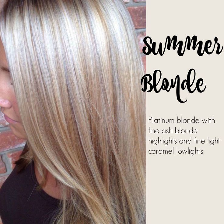 Summer blonde - Platinum blonde with fine ash blond highlights and fine light caramel low-lights.                                                                                                                                                     More