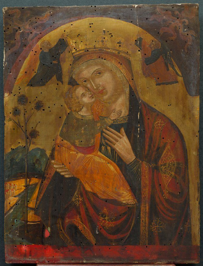 Virgin and Child, 15th century Byzantine (Dalmatian?), 15th century tempera and gold on wood, Framed: 63.50 x 50.80 x 10.16 cm