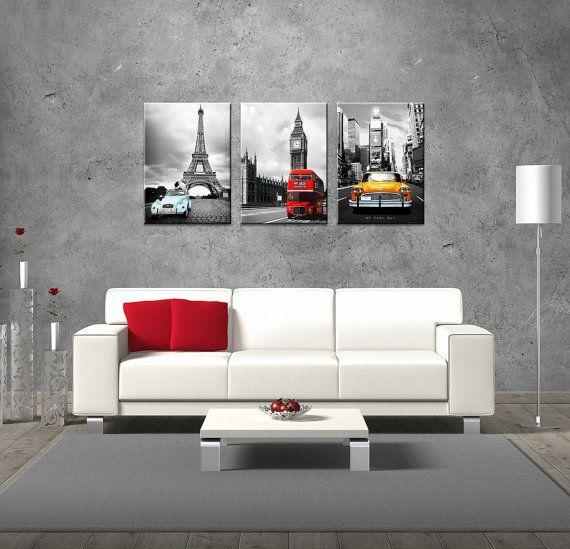 Nyc paris london eiffel tower big ben wall art fiberboard print canvas 3 panel set big ben - Bathroom accessories london ...