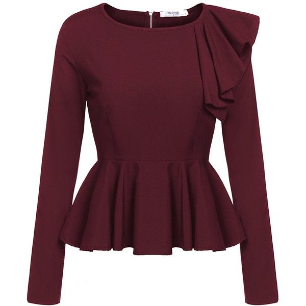 Meaneor Women's Ruffles Peplum Long Sleeve Dressy Blouse Tops ($16) ❤ liked on Polyvore featuring tops, blouses, peplum shirt, ruffle blouse, long-sleeve shirt, ruffle shirt and purple button down shirt
