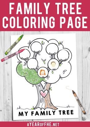 A Year of FHE // FREE LDS COLORING PAGE for kids to fill in with their basic family tree!