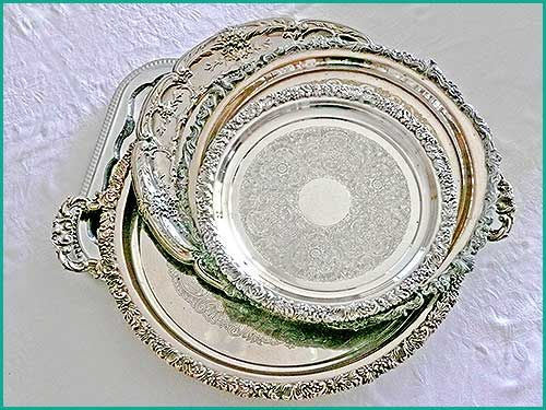 Vintage Silver trays suitable  and great for hors d'oeuvres, canapes, finger food. Hire from High Tea Hire Napier NZ