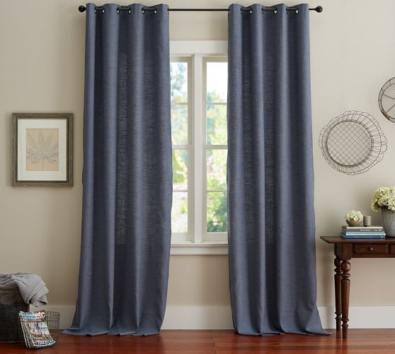 Emery Linen Cotton Grommet Curtain Blue Dawn In 2019