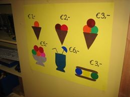 jufjanneke.nl - Kijken op de ijskaart en de prijslijst en daarbij natuurlijk tellen