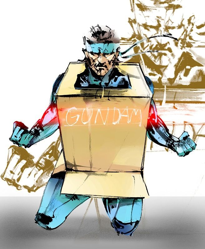Solid Snake hiding in his super upder duper gundam mech. Crossover metal gear solid