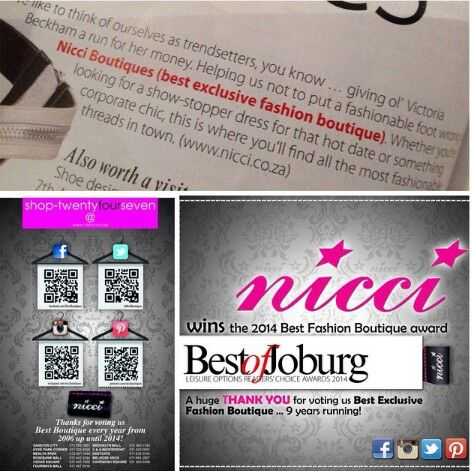 Thank you for voting Nicci Boutiques #BestExclusiveBoutique for 9 years running! #BestofJoburg