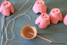 Peppa Pig snout craft made from painted egg cartons and elastic!