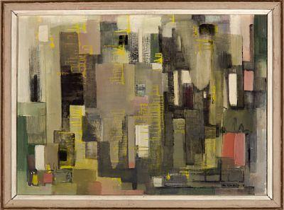 """GUDRUN KONGELF 1909 - 1987  """"Composition (pillar)"""" 1958 Olje på lerret, 55x76 cm Signert og datert nede til høyre: G. Kongelf -58"""
