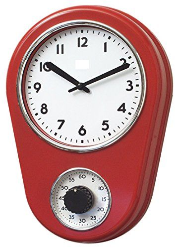 Retro-Kitchen-Timer-Wall-Clock-Red-By-Lilys-Home-0-0