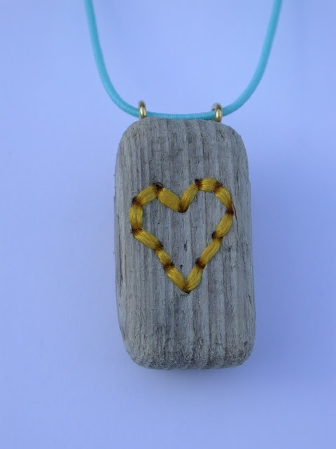 Ella Robinson embroidered driftwood necklace