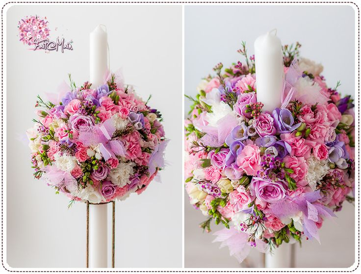 """Papillon Rose Lavande"" christening candle www.facebook.com/faitamain www.simplyhappy.ro"