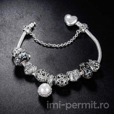 Bratara tip Pandora Silver Pearl