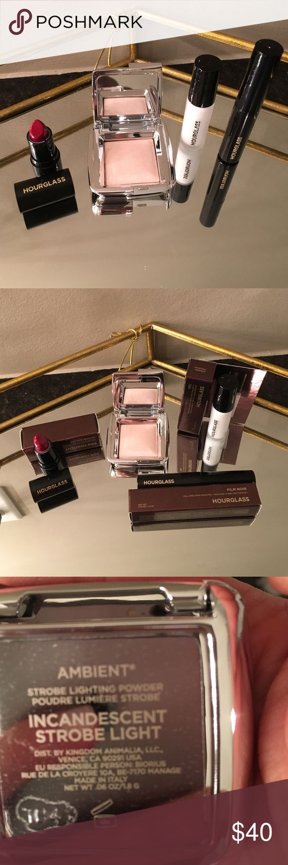 NEW HOURGLASS MINIS KIT BRAND NEW Amazing hourglass mini kit ! 1- ambient strobe lighting powder Incandescent strobe light .06 oz, 1 -Velvet creme lipstick in Femme Rouge ( beautiful red ) , 1 - Veil mineral primer SPF 15 0.14fl.oz, 1- full spectrum mascara in Film Noir ( black )  0.15 oz. all brand new not used . I have to mention that the lipstick has a little KNICK on the side from putting the cap back on , Nothing major but I like to mention my listings throughly just incase . Check out…