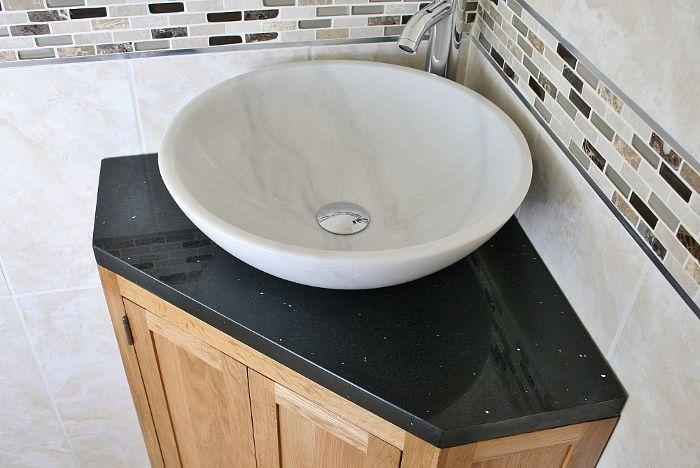 large corner bathroom vanity | ... corner bathroom vanity unit with one large central cupboard with a
