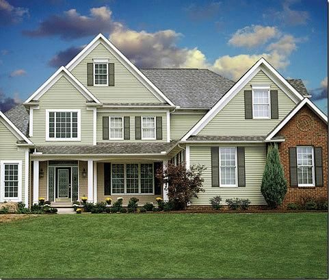 56 best houses with green siding images on pinterest for Vinyl siding house plans