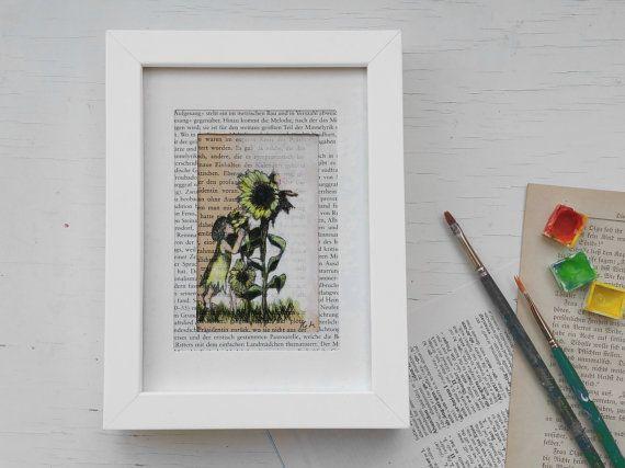 Uniek, art print aquarel, zonnebloem, print book pagina zonnebloemen, afbeelding en print boekenwurmen zonnebloem, geschenk boekenwurm, kunst print
