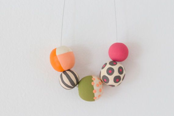 Emma Hand Painted Wooden Bead Necklace by jenloveskev on Etsy, $35.00