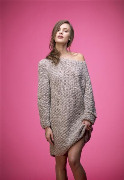 1503: Modell 5 Lang genser i dobbel perlestrikk #strikk #knit #fashion #tweed #alpakka