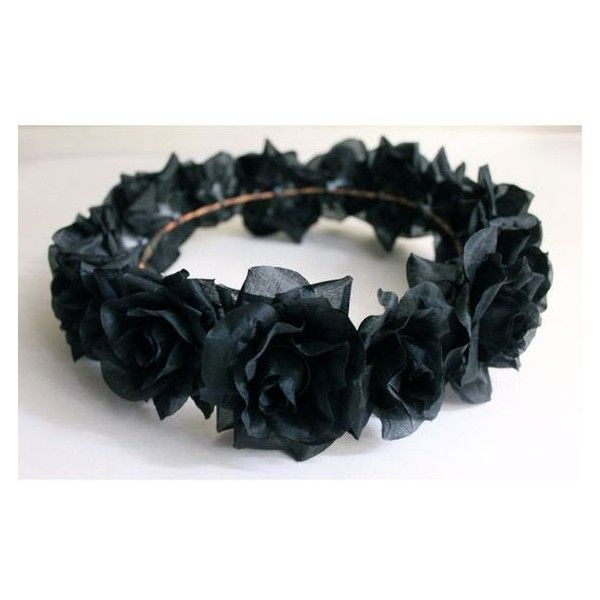 Black Flower Crown, Gothic Flower Crown, Black Flower Headband, Rave H ❤ liked on Polyvore featuring accessories, hair accessories, floral garland, rose flower crown, floral crown headband, head wrap headbands and garland headband
