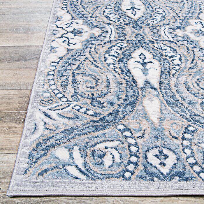 Karmane Floral White Blue Area Rug Blue Oriental Rug Blue Area Rugs Blue And White Living Room