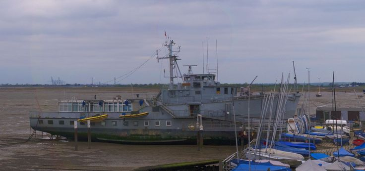 The ex HMS Wilton, now the club house for the Essex Yacht Club at Leigh on Sea.