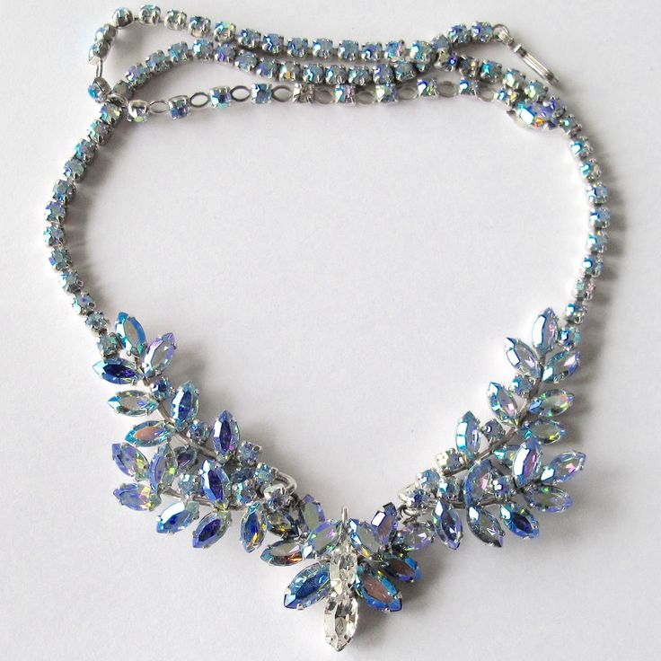 Blue Aurora Borealis Sherman Necklace Exclusively on RubyLane at Lee Caplan Vintage  Collection