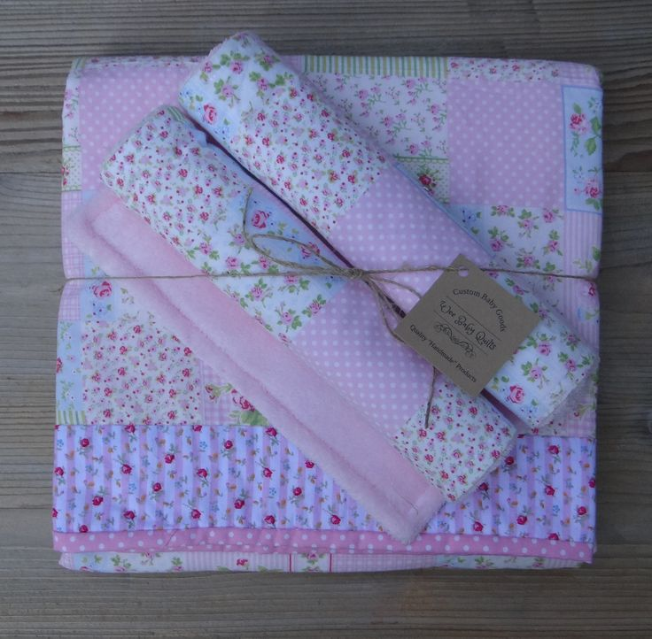 Vintage Rose Baby Blanket & Burp Pads ~ Rose Floral Baby Girl Stroller Blanket ~ Baby Girl Blanket Set by Weebabyquilts on Etsy