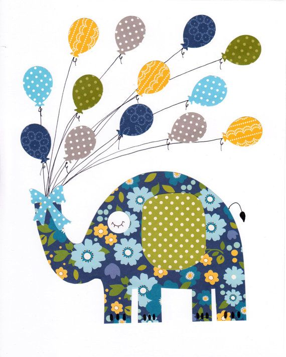 Elephant Colorful Animal Nursery Artwork por 3000yardsofthread