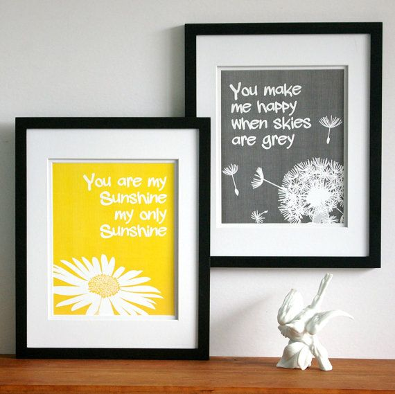 Nursery art, childrens wall art, You are my sunshine print set, custom colors, size 11 x 14 kids word art baby girls room art art on Etsy, $38.00