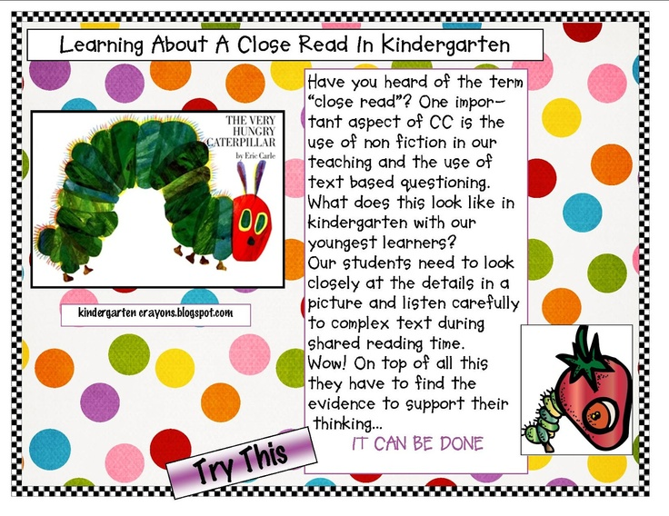 "Implementing Term ""A Close Read"" (CC) Using The Very Hungry Caterpillar"