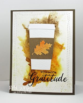 Card cup MFT coffee cup fall atutumn thanksgiving leaf leaves pumkpin latte gratitude thankfull card by Rita: Fall Coffee Lovers Hop My Favorite Things Die-namics #mftstamps