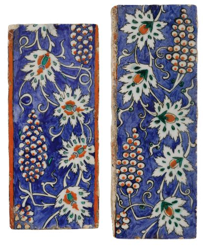 Two Iznik Polychrome Border Tiles, Turkey, circa 1580-85 | Lot | Sotheby's