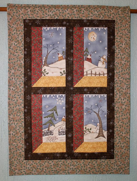 Muñecos de nieve de la pared colgante colgante por RedNeedleQuilts