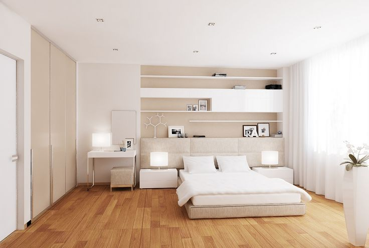White cream bedroom -A low level bed allows the room scheme to breathe without obstruction, whilst the headboard softly melts away into the background.