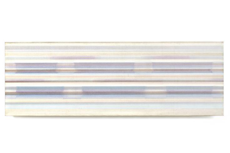 """«Il colore è il tasto, l'occhio il martelletto, l'anima è il pianoforte dalle molte corde». ( #WassilyKandinsky, Lo spirituale nell'arte, 1910). Prosegue fino al 31 gennaio 2016 la collettiva """"Linearità flessibile"""" con opere di #VittorioMatino e molti altri. Nella foto: Matino, Canyon, 1976-77, olio su tela, cm. 90x270."""