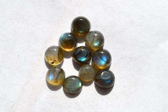 10.5 Cts Natural Multi Fire Labradorite Gemstone, Round Shape Labradorite Loose Cabochon,  10 Pieces Wholesale Lots Labradorite R06409 by JAIPURARTMART on Etsy