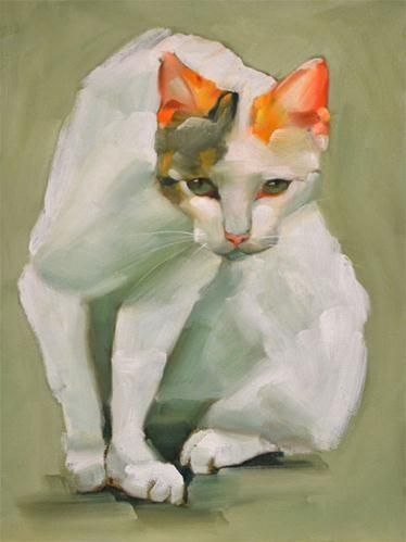 """""""The Cat"""" Cheryl Wilson - It's the head of this cat that is so lovely. #cat #painting"""