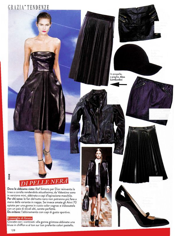 GRAZIA Italia - October issue n.43-2013 _ Pag. 128: Pleated skirt by #AtosLombardini _ #Black #Leather #Plissé #Outfit #Trend