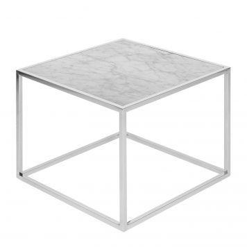 Beistelltisch Jacob - Marmor / Edelstahl - Weiß / Silber