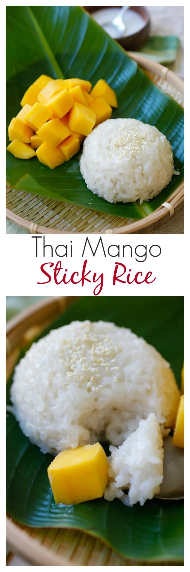 {Thailand} Mango sticky rice – a popular sweet sticky rice with coconut milk and fresh mangoes. Make your favorite Southeast Asian dessert at home | rasamalaysia.com