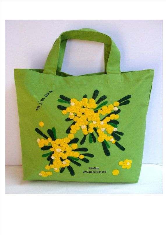 Handmade Canvas green  tote bag/shopper/carry all/ by Apopsis