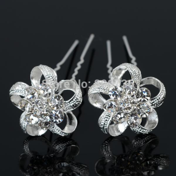 12 stks nieuwe verzilverd crystal bloem bruiloft bruids haar clip haarspelden vrouwen haar pin chic sieraden party accessoires