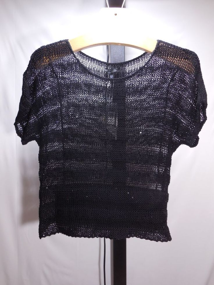 MISSES EILEEN FISHER BLACK SCOOP NECK BOX-TOP STRIPED SEQUIN SWEATER XS 0 2 $31  #EileenFisher #BOX