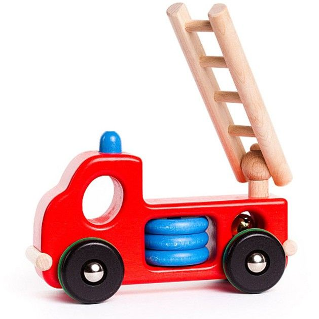 Houten brandweerwagen met ladder die open en neer kan ✓ Ruim assortiment Bajo speelgoed ✓ Voor 21.00 uur besteld, morgen in huis
