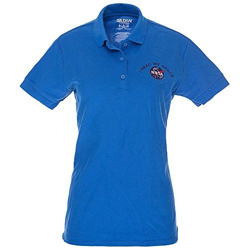 Ladies I NEED MY SPACE NASA Meatball Embroidered Poly Jersey Polo Shirt - Royal - 2XL