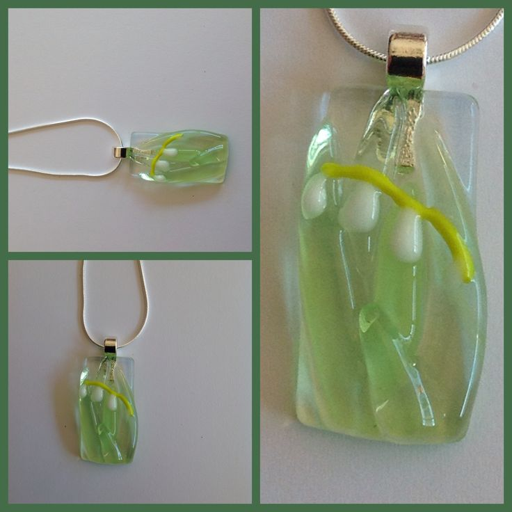 Glasfused pendant lilly of the valley for Miep