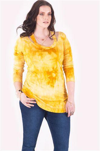 Joy Omuz Detaylı Uzun Kollu Sarı Batik