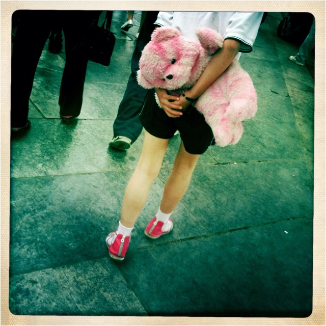 Pink Teddy bear in Forbidden City, Beijing, China.