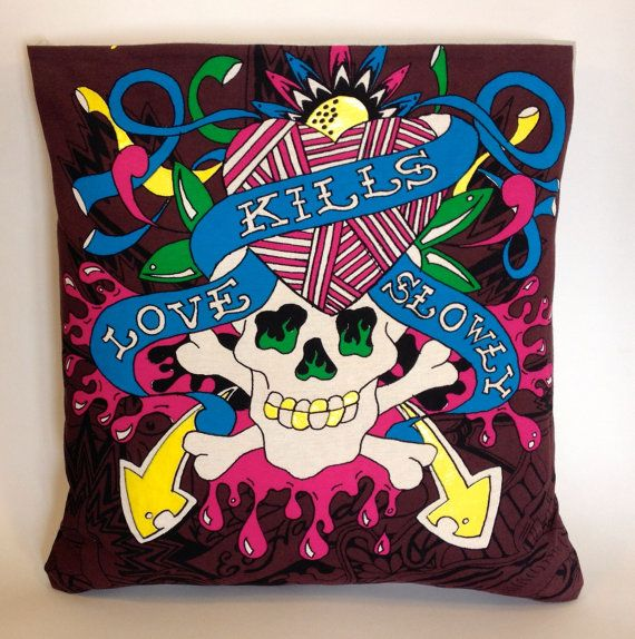 Items Similar To Ed Hardy Love Kills Slowly Upcycled T Shirt Pillow Slip  Cover Home Decor, Cushion Cover, Skull U0026 Crossbones On Etsy