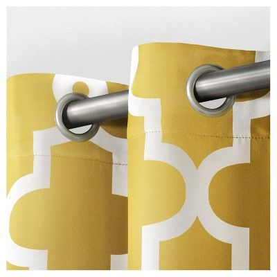"Ironwork Sateen Woven Room Darkening Window Curtain Panel Pair Yellow (52""x96"") - Exclusive Home"